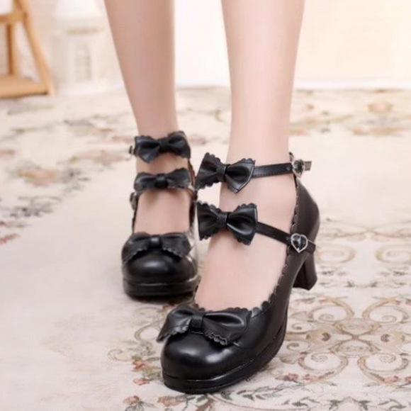 Ruffle Strap Bow Shoes AD11275