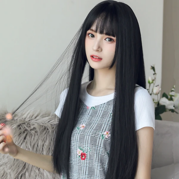 Black Long Straight Wig AD11686