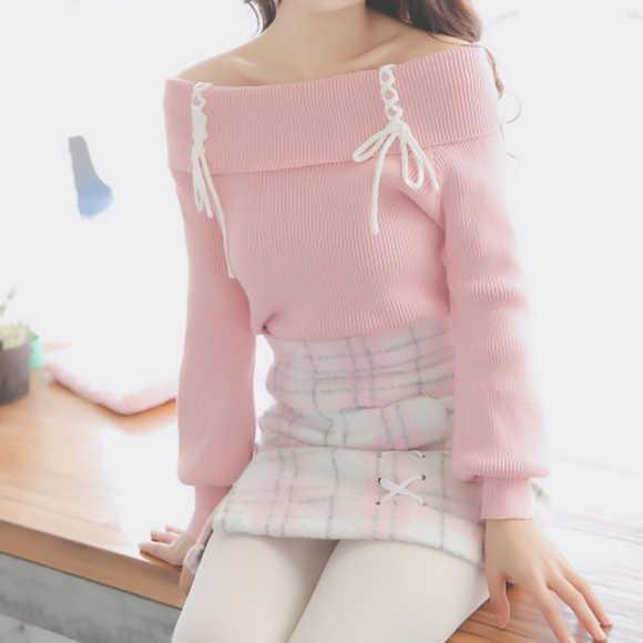 Cross Strings Pink Shoulder-less Sweater AD11993
