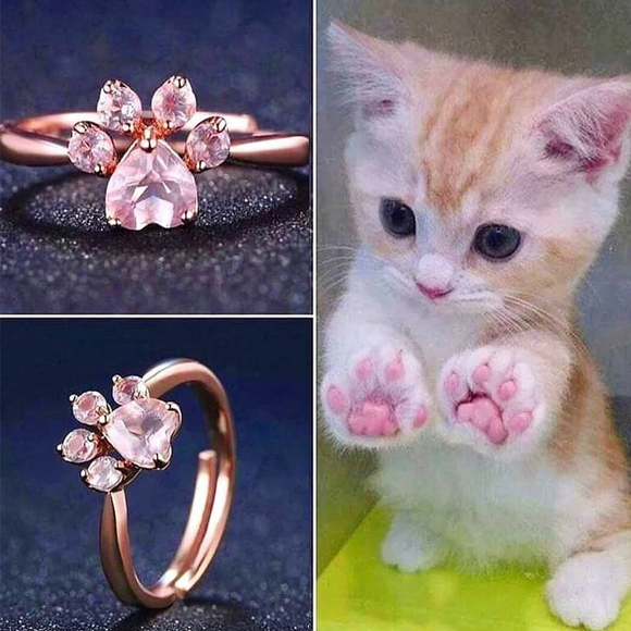 Silver Rose Gold Cat Paw Ring AD10684