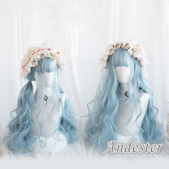 Blue Lolita Long Curly Wig AD11702