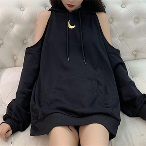 Moon Off Shoulder Loose Hoodie AD11296