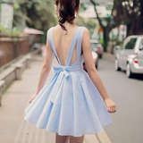 Cute Blue V Neck Short Dress With Bow AD11541