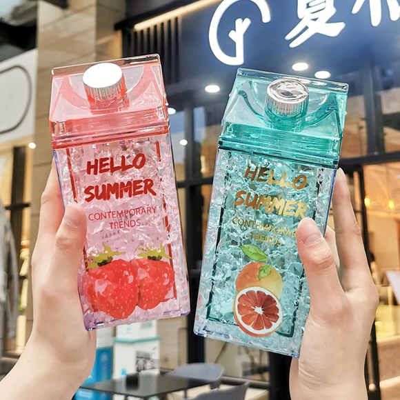 Kawaii Straw Fashion Ice Fruit Water Bottle AD11513
