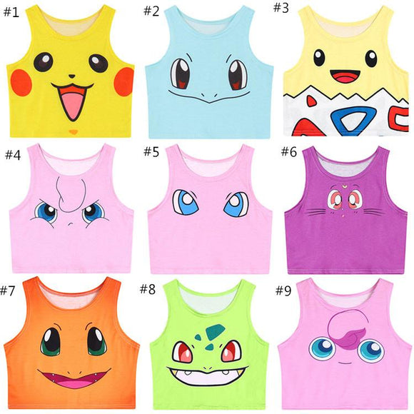 9 Colors Pokemen/Sailor Moon Kitten Crop Tank Top AD10148