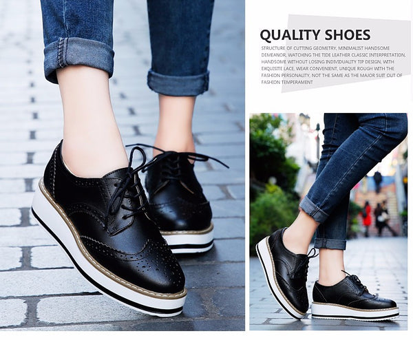 119239530cb9 ... Women Platform Oxford Brogue Patent Leather Flats Lace Up Shoes Pointed  Toe Creepers Vintage Luxury ...