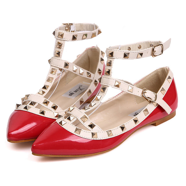 Fashion Women Rivet Flats Shoes Metal Ankle Strap. Tacon bajo de vestir para mujer