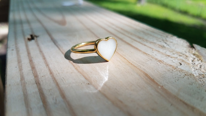 Stainless steel heart bezel ring
