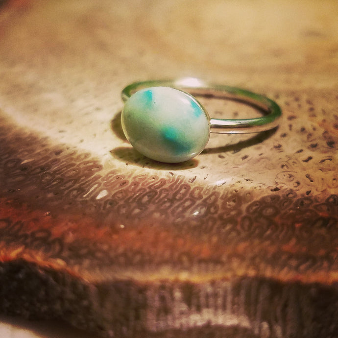 Sterling silver oval breastmilk ring