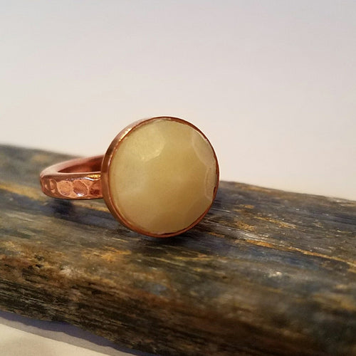 Copper ring with breastmilk stone