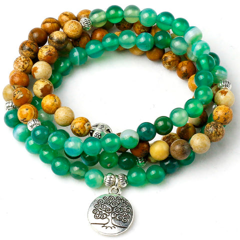 Green Watery Onyx Stone 108 Mala Beads