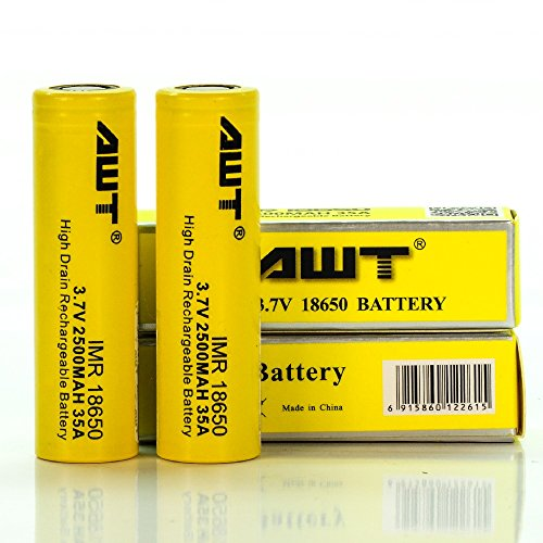 AWT Yellow 18650 2500 mAh 35A Battery (Two Batteries)