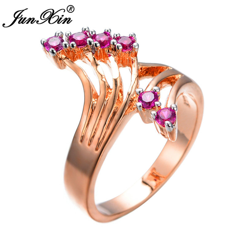 Ring. Unique Design Hot Pink Zircon Stone  Rose Gold Filled - Songbird Deals
