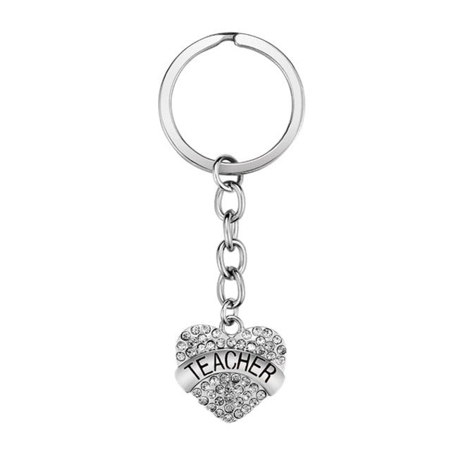 Pink Clear Rhinestones Teacher Key Chain Trust Hope Dream Love Heart Pendant Keychains Car Key Ring Teacher's Day