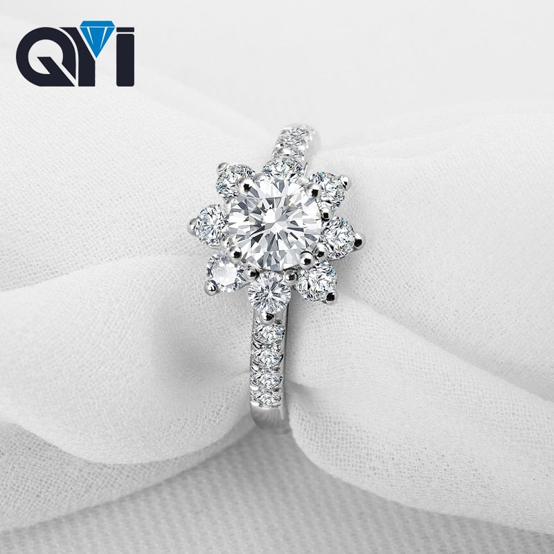 QYI Flower Shape 925 Solid Silver Round cut Simulated Diamond Engagement Wedding Rings Women Gift Ring Fashion Jewelry