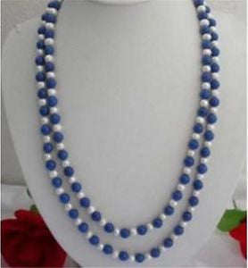 Necklace.  Natural 8mm Egyptian Blue Lapis Lazuli & Real White Pearl Necklace 30