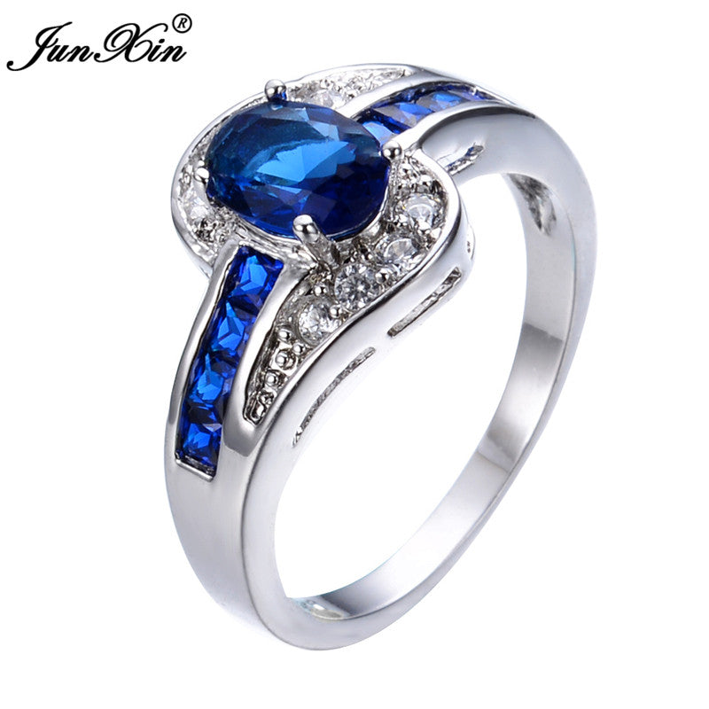 Ring.  Fashion Oval Cut Blue Ring Gold Filled Crystal Jewelry Promise Engagement Couple Ring - Songbird Deals