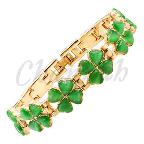 Bracelet. Gold Bracelet 24pcs Green Cat Eye Stones Flowers Jewelry Gift Bracelet Charm - Songbird Deals