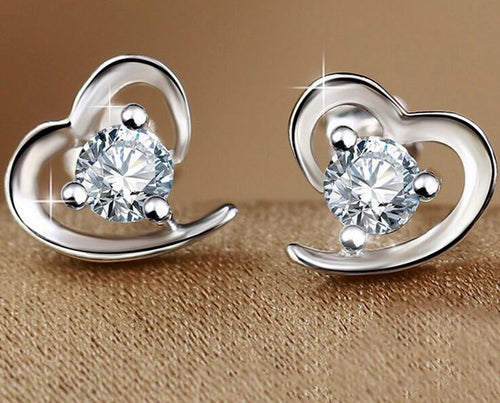 Silver CZ Heart Shaped Stud Earrings for Women - Songbird Deals