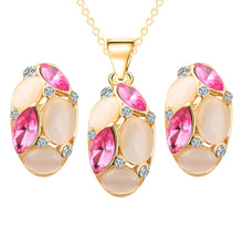 Necklace Earrings  Oval Shape  Crystal Jewelry - Songbird Deals