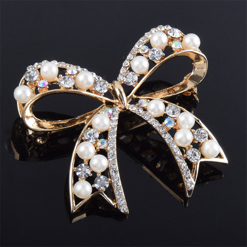 Brooch, High Quality Bowknot Imitation Pearls Boutonniere Pins Brooches - Songbird Deals
