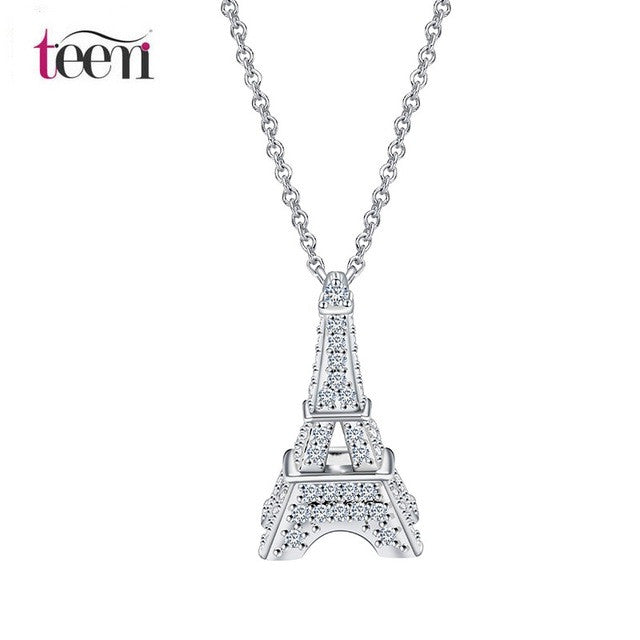 Pendant. High Quality Crystal Zircon Jewelry Paris Eiffel Tower Necklace Gift - Songbird Deals