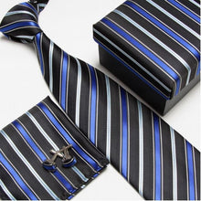 Neckties, cufflinks hanky high quality ties cuff links Striped Pocket square Handkerchiefs #8 - Songbird Deals