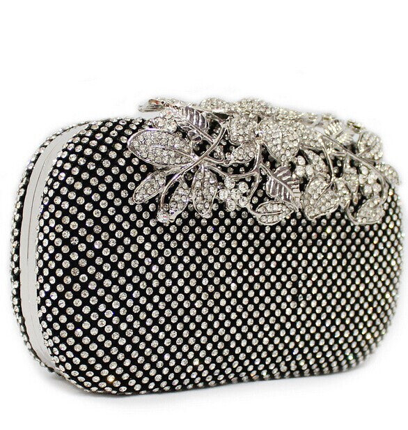 Handbag. Luxury Crystal Purse Full Diamond Flowers Party Evening Bag - Songbird Deals