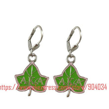 AKA 'Divine 9'  pink with  green  dangle  Earring BGLO paraphenaleia   Alpha Kappa  Alpha Sorority - Songbird Deals