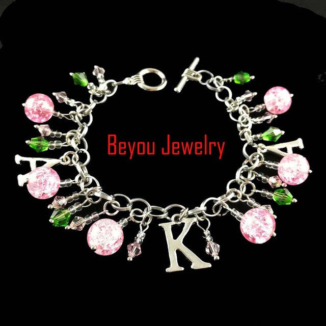 Greek AKA  BGLO 'Divine 9'   pink  and green crystal bead   Alpha Kapp Alpha Letter Charm Bracelet Jewelry - Songbird Deals