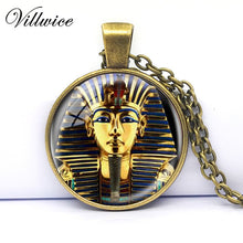 King Tut Logo Pendant Necklace Tutankhamun Golden King Art Handmade Resin Vintage Necklace Egyptian - Songbird Deals