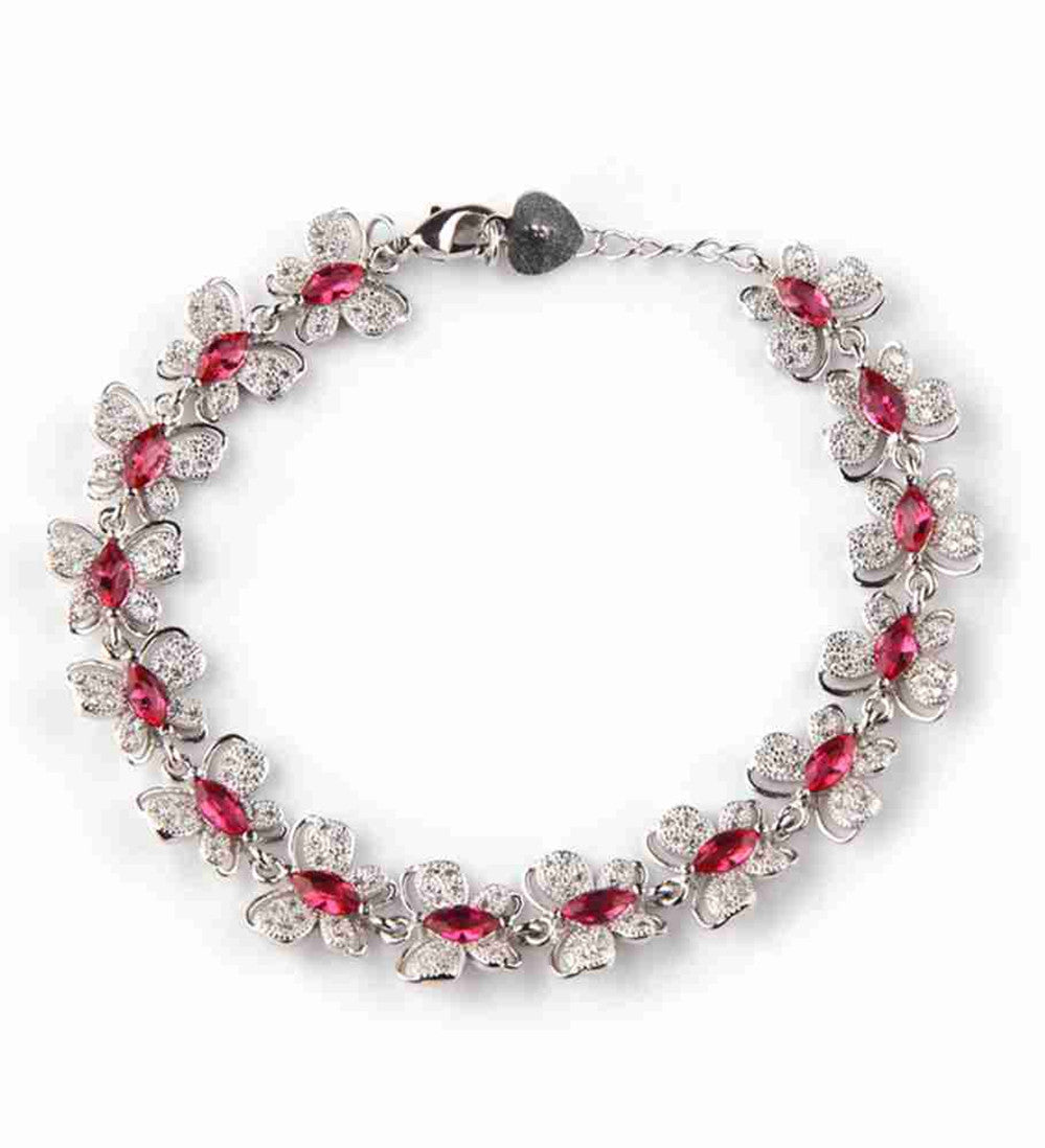 Bracelet. Red Cubic Zirconia Silver Plated - Songbird Deals