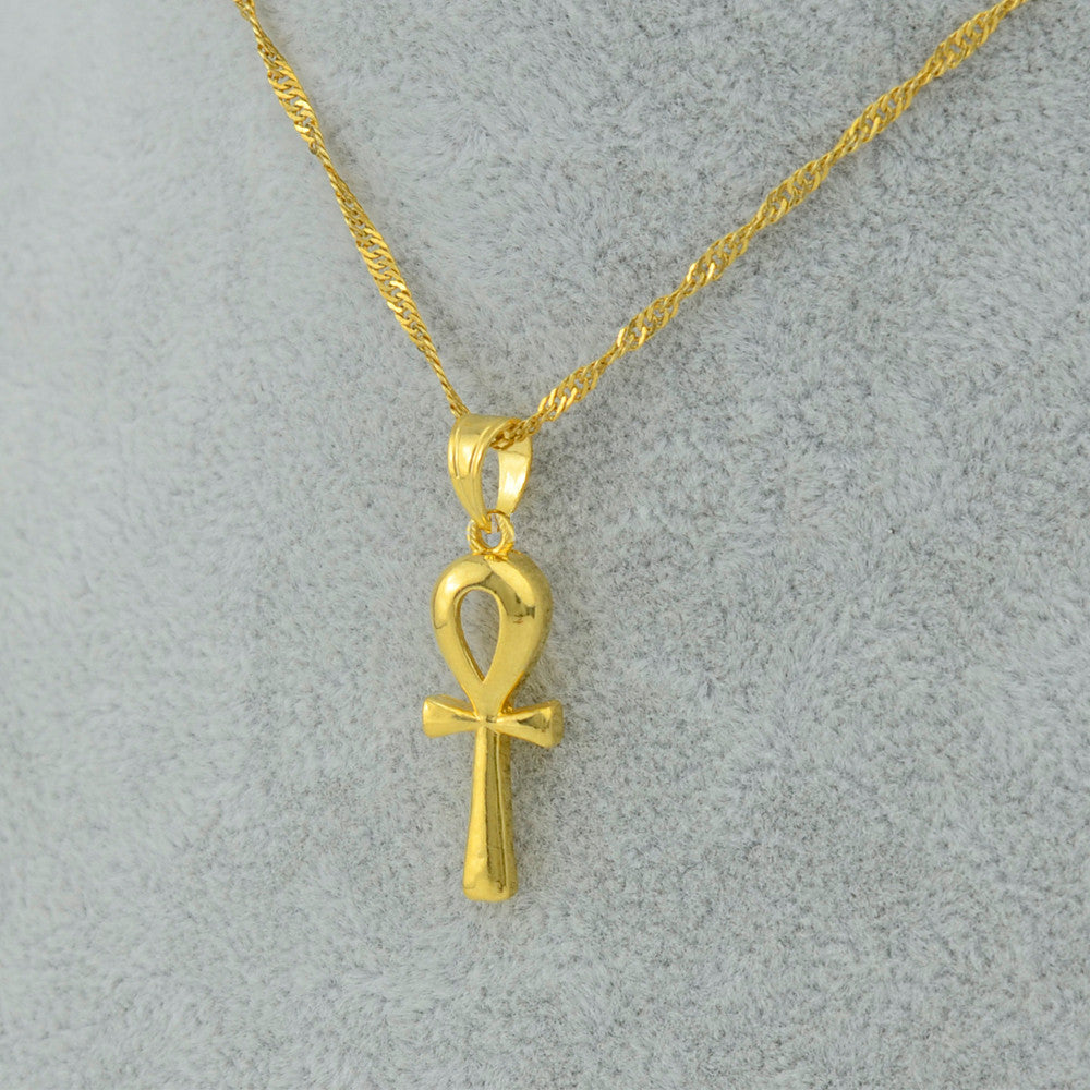 Pendant Egyptian Ankh Necklace Chain Gold Color Hieroglyphs - Songbird Deals