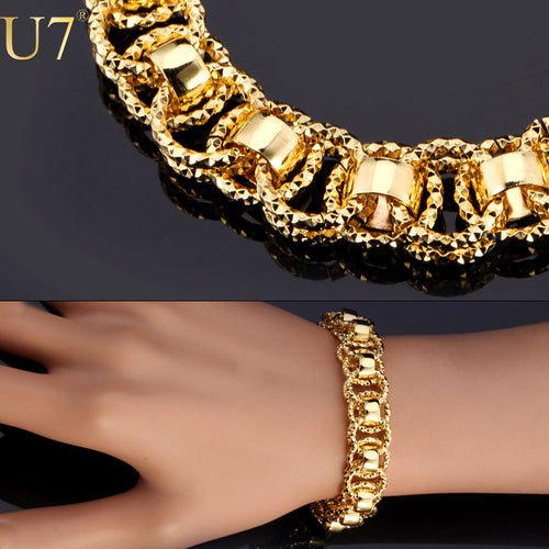 Bracelet. Trendy Gold/Silver/Black Color 21cm Round Bracelet Women/Men Jewelry H489 - Songbird Deals
