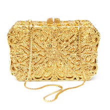 Purse. luxury diamante box shape clutch bags Golden Bling evening prom bag - Songbird Deals