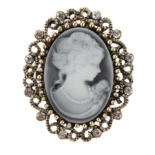 Cameo. Vintage Queen's Cameo Crystal Brooch in Antique Gold color - Songbird Deals