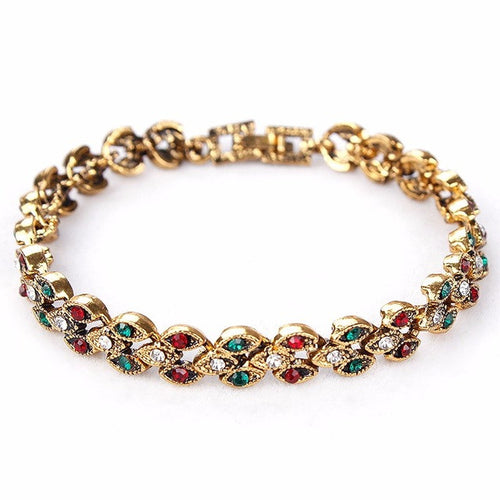 Bracelet. Vintage Green and Red Crystal Rhinestone Bracelet in Antique Gold or Silver color - Songbird Deals