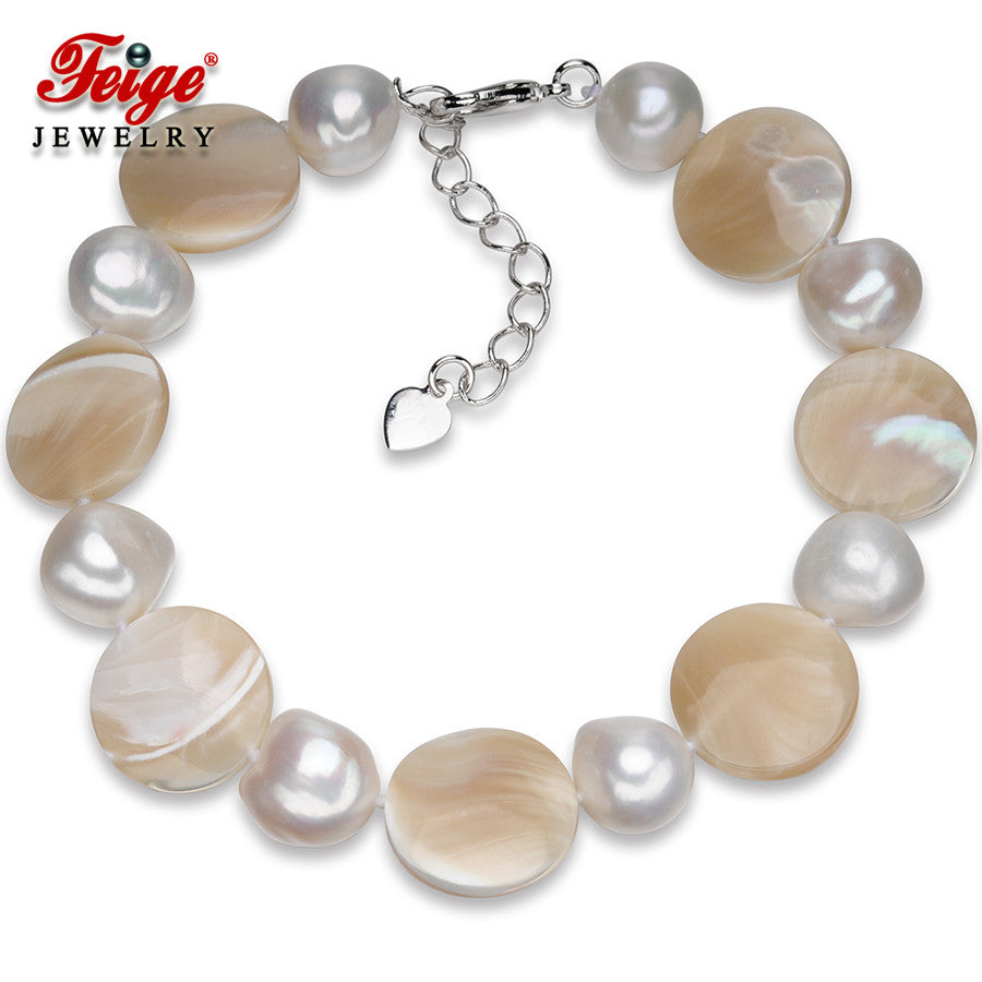 Bracelet. Baroque style 10-11mm Natural White Freshwater Pearls and Seashells Fine Jewelry - Songbird Deals