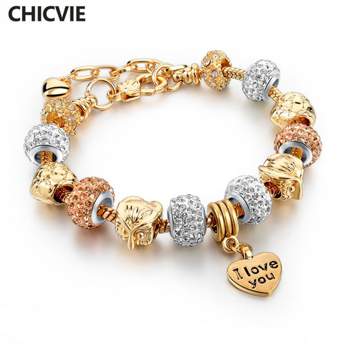 Bracelet. Gold Color Love Charm Bracelets & Bangles  Crystal Beads Bracelet Jewelry - Songbird Deals