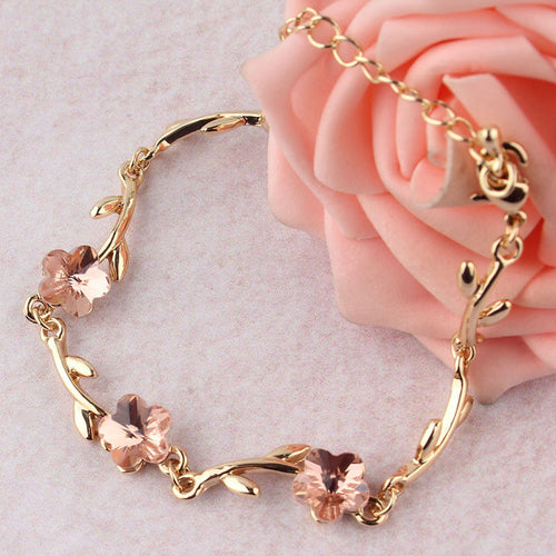 Bracelet. Simple Pink Crystal Gold-color Chain Bracelet Jewelry - Songbird Deals