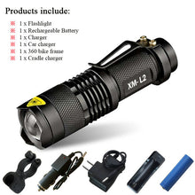 Flashlight. Mini-penlight  led torch  cree xm-l t6 xm l l2 rechargeable Zoom waterproof 18650 battery - Songbird Deals