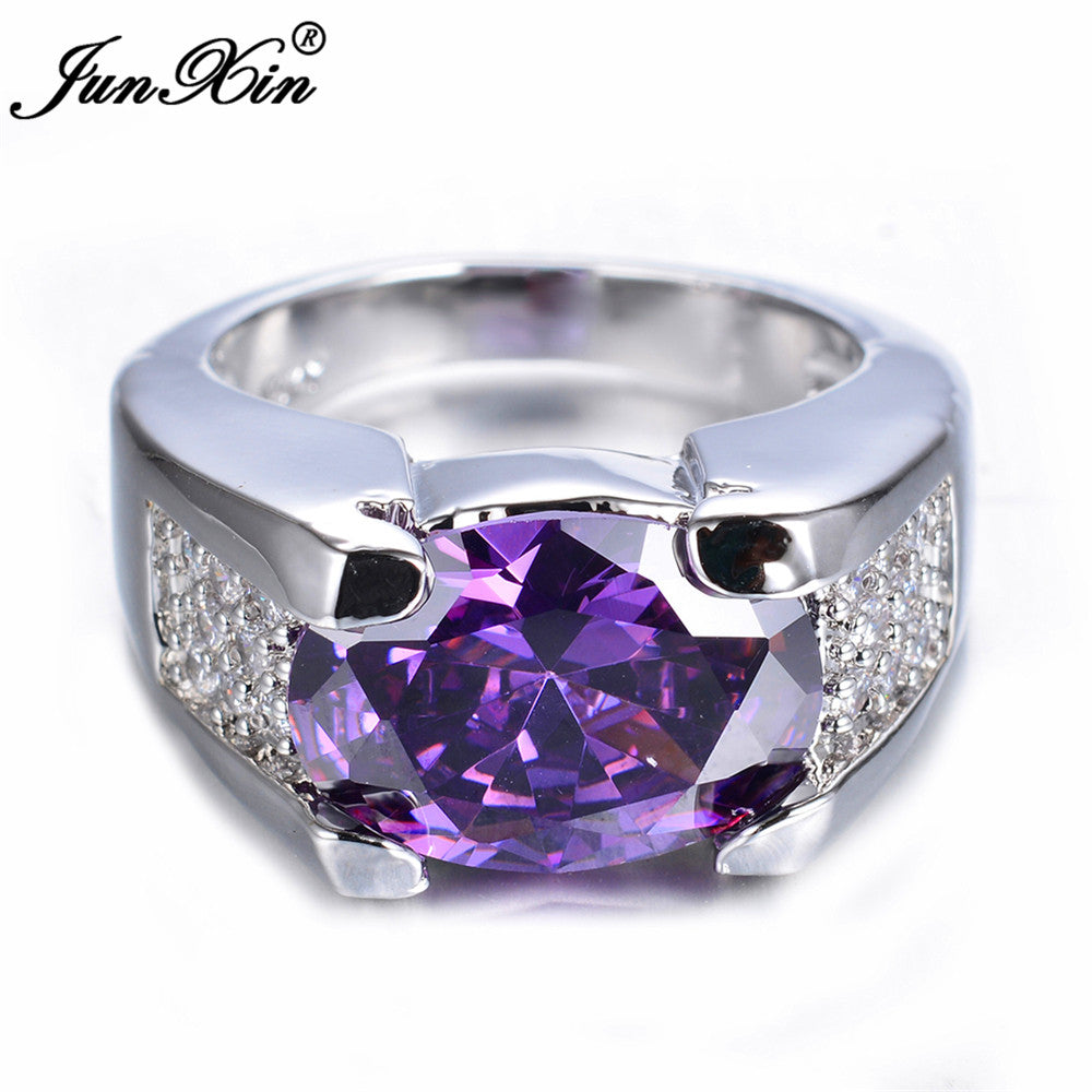 Ring.   Purple Oval Ring White Gold Filled New Fashion - Songbird Deals