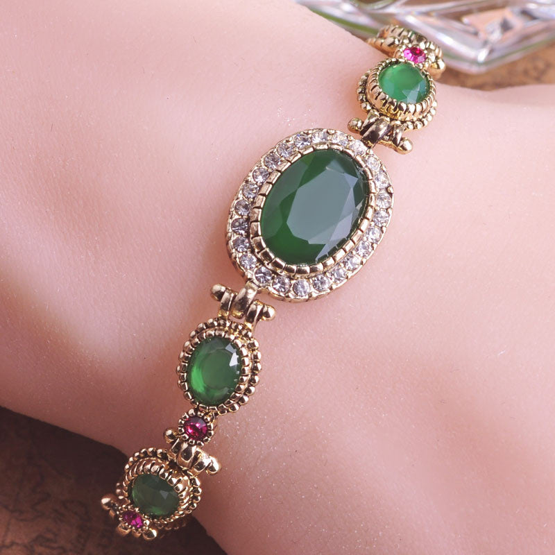 Bracelet. Antique Gold-color Green Turkish Jewelry  Oval - Songbird Deals