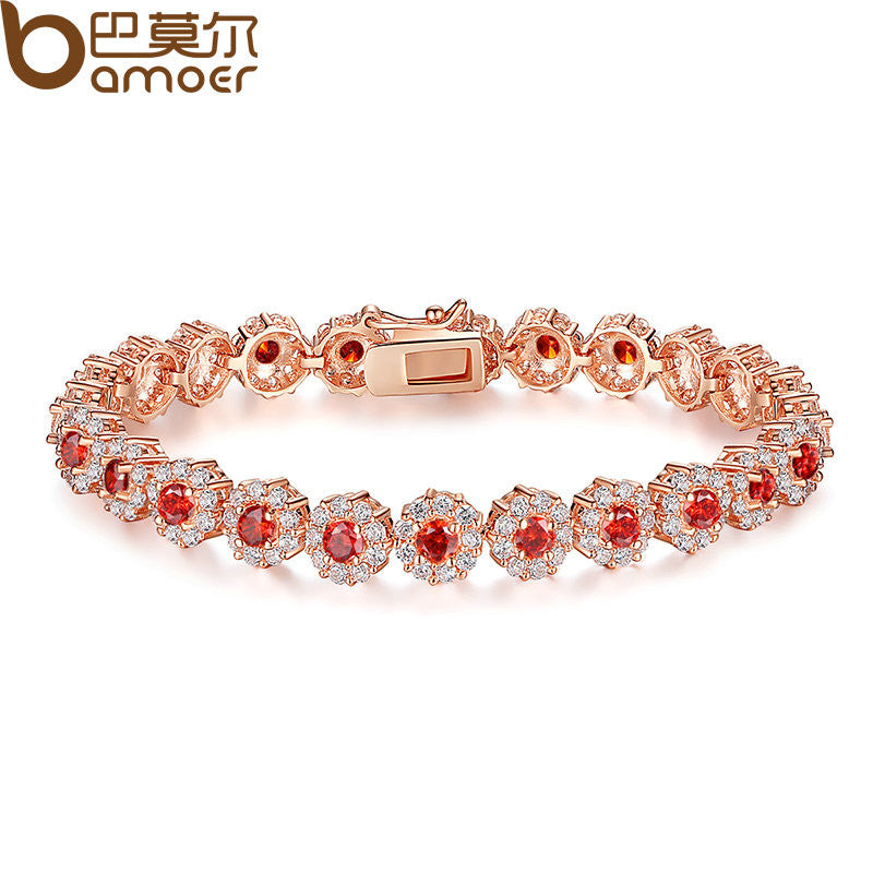 Bracelet.  Red Stone Luxury Fashion Rose Gold Color Bracelets  Jewelry  Gift - Songbird Deals