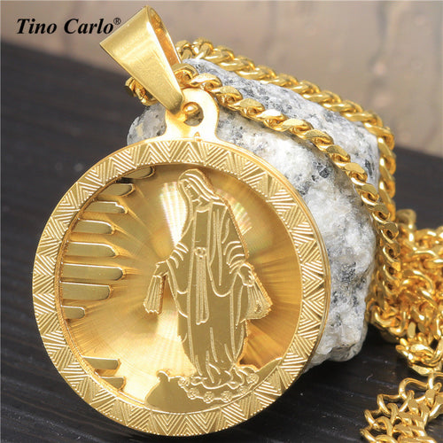Men's Stainless Steel Golden Jesus Medal Necklace Virgin Mary Piece Pendant Chain LQ1614 - Songbird Deals