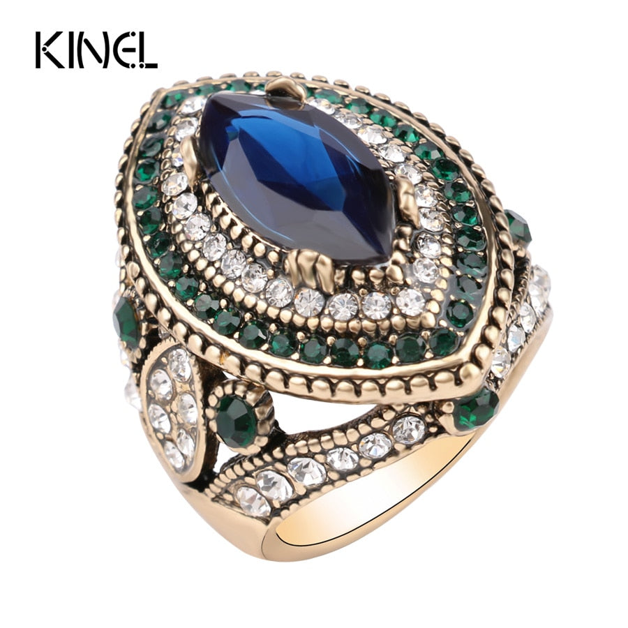 Jewelry Big Rings For Women Gold Color Mosaic Green Crystal - Songbird Deals
