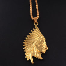 Pendant.  Jewelry Gold Tone Native American Indian Chief Head Portrait Pendant Charm - Songbird Deals