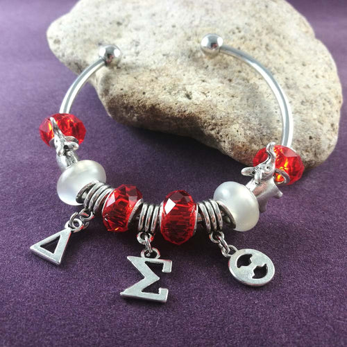 Bracelet.  Delta Sigma Theta Charm Bangle sorority jewelry BGLO 'Divine 9' - Songbird Deals