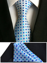 Ties for men tie set kerchief polyester silk dot tie handkerchief T17 - Songbird Deals