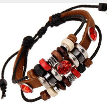 Bracelet. Bohemian Red Crystal Multilayer Leather Round Beads charm Bracelet - Songbird Deals